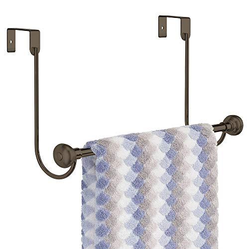 mDesign Metal Bathroom Over Shower Door Towel Rack Holder - Storage Organizer Bar for Hanging Washcloths, Bath, Hand, Face & Fingertip Towels - Bronze