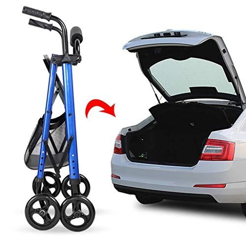 Rollator Wandelframe op wielen met remmen en stoel, Walker Trolley kan worden gebruikt als een draagbare lichtgewicht opvouwbare multifunctionele vierwieler Walker Walking Aid