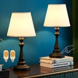 Kakanuo - Lámpara de mesilla táctil, lámpara de mesa con pantalla de tela, pantalla blanca con base de columna romana negra, mesita de noche para dormitorio, salón, dormitorio o estudio (juego de 2)