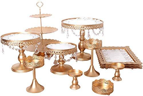 12 TLG Vintage Tortenständer Rund Metall Dessert Display mit Kristallperlen, 3 stöckig Tortenplatte Hochzeitstorte Deko Gestell für Party Hochzeit, Golden