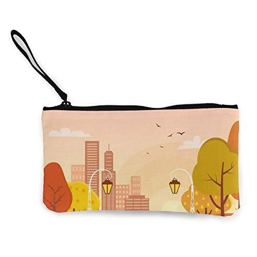 Wrution Autumn Park Street Light Lehnstuhl Flying Birds Canvas Münzbörse Tasche Reißverschluss kleine Geldbörse weiblich tragbar große Kapazität