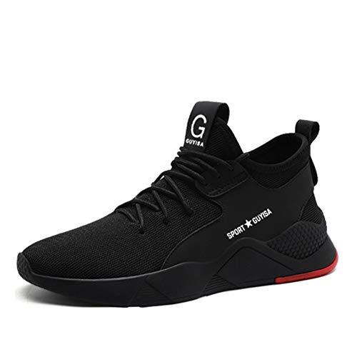 Jianye - Zapatos de seguridad para hombre y mujer, ligeros, s3, transpirables, zapatos de trabajo, para obras, industriales, Negro (A Noir), 43 EU