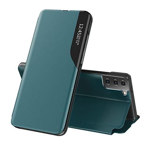 TOPOFU Flip Cuero Funda para Samsung Galaxy S21 5G Cáscara, Ultra Delgado Inteligente Funda [360° Protection] [Soporte Plegable] [Anti-Scratch] Flip Case Cover - Verde