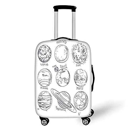 Travel Luggage Cover Suitcase Protector,Doodle,Planets of Solar System Sun Mercury Earth Moon Mars Neptune Saturn Jupiter Science,Black White,for Travel S