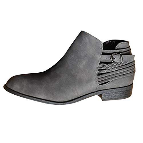 Stiefeletten Damen mit Blockabsatz, Frauen Ankle Kurze Stiefel Spitz Kappe Elegant Casual Roman Single Schuhe Damenschuhe Chelsea Short Boots Riou