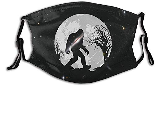 Upside Down Pineapple Black Mask Reusable with 2 Filter for Men Women Outdoor Sports Scarf Shield Washable-Bigfoot Sasquatch Full Moon-1 PCS