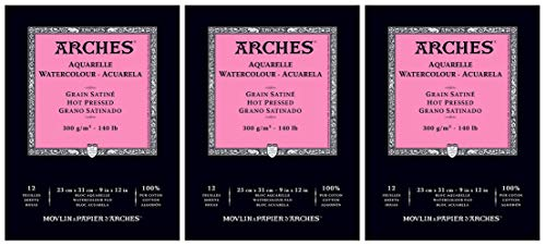 3-Pack - Arches Watercolor Pad, Hot Press 9' x 12' - 12 Sheets Each