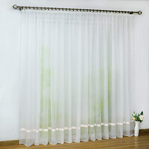Joyswahl Voile Gardine transparenter Vorhang mit Satinband Design »Maja« Schals Fenster Vorhänge mit Kräuselband BxH 300x225cm Weiß 1er Pack
