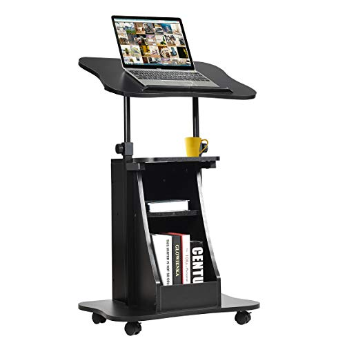 Tangkula Mobile Laptop Podium, Height Adjustable Podium Stand, Standing Desk Sit-to-Stand Desk, Rolling Desk Cart Stand Laptop Desk Cart with Swivel Top Movable Wheels & Storage (1, Black)