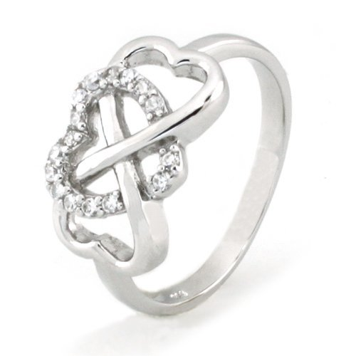 Metal Factory Sz 6 Sterling Silver Cubic Zirconia Infinity & Heart Symbol CZ Wedding Band Ring