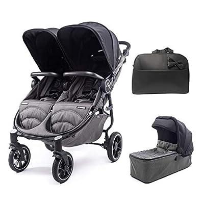 Silla Gemelar Easy Twin 4 Chasis Negro + 1 Capazo Baby Monsters Plástico de Lluvia y Barras Frontales incluidas Color Negro