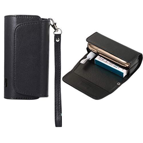 Nero Custodia Protettivo per IQOS 3.0 DUO Titolare per Sigarette Astuccio in Tela + pelle PU Sigaro Accessori