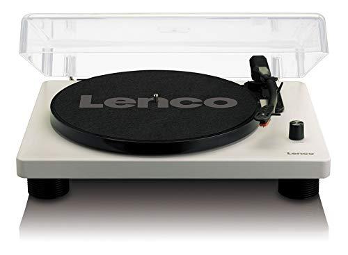 Lenco platenspeler LS-50 met USB-aansluiting, in houten behuizing met ingebouwde luidsprekers en geïntegreerde versterker LS-50. grijs