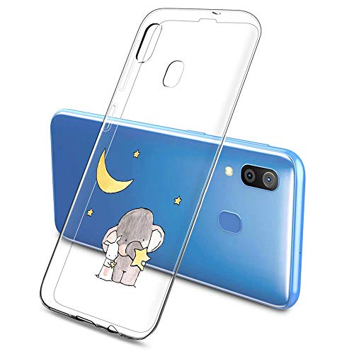 Oihxse Compatible pour Silicone Samsung Galaxy S6 Coque Crystal Transparente TPU Ultra Fine Souple Housse avec Motif [Elephant Lapin] Anti-Rayures Pro