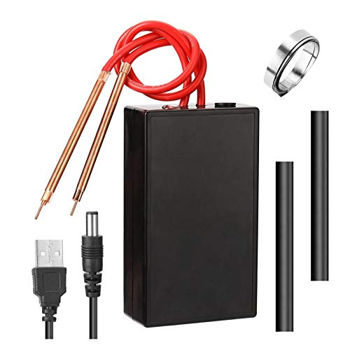 ALEOHALTER Punktschweißmaschine, Mini-Punktschweißgerät mit 2 Schweißstiften USB-Lademaschine 6-Fach verstellbare Punktwerkzeuge für DIY-Haushaltsgeräte für Nickelgürtel