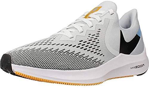 Nike Air Zoom Winflo 6, Running Shoe Hombre, Platino Puro/Negro/Laser Orange/Blanco, 45.5 EU
