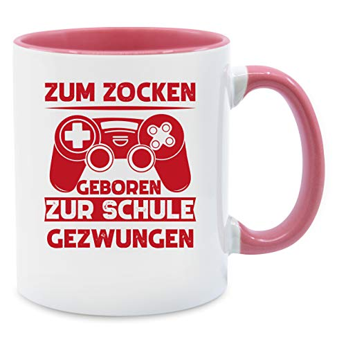 Shirtracer Tasse mit Spruch - Zum zocken geboren zur Schule gezwungen rot - Unisize - Rosa - Horde Tasse - Q9061 - Tasse für Kaffee oder Tee