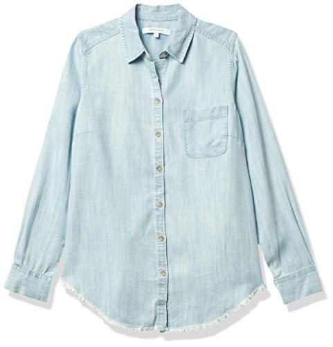 Foxcroft Haven - Blusa de Mezclilla para Mujer, Azul desteñido, 16