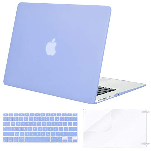 MOSISO Plastic Hard Shell Case & Keyboard Cover & Screen Protector Only Compatible with MacBook Air 13 inch (Models: A1369 & A1466, Older Version 2010-2017 Release), Serenity Blue