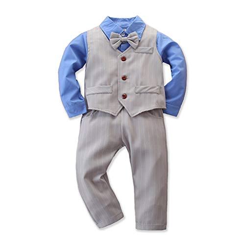 Hui.Hui Garçon Costume Ins Mode Noeud Papillon + Chemise Solide à Manches Longues + Pantalon à Rayé Costume de Monsieur 3 PièCes Outfits Enfant Garçon Tenue