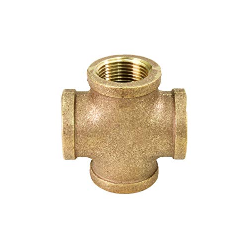 Supply Giant Suply Giant CSDS0012 1/2'' Lead Free Four Way Brass Cross Fitting with Equally Sized Female Threaded Branches For 125 LB Applications, Easy to Install, 8