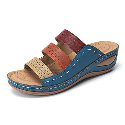 Azul Sandalias Casuales Para Mujer Sandalias Cruzadas Con Punta Abierta Para Mujer Sandalias Con Plataforma Talla Grande Mujer 43