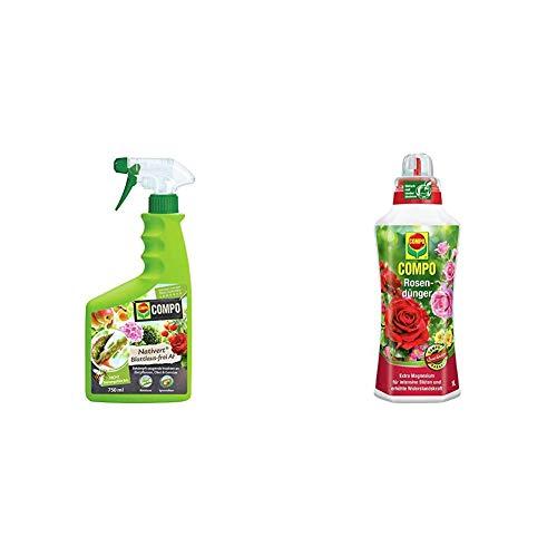 Compo Nativert Blattlaus-frei AF, Bekämpfung von saugenden Insekten an Zierpflanzen, 750 ml & Rosendünger für alle Rosen im Zimmer, in Kübeln, Beeten sowie im Freiland, Spezial-Flüssigdünger, 1 Liter