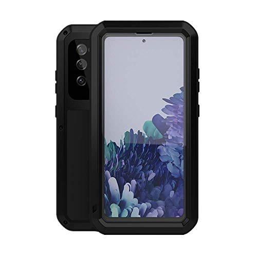 LOVE MEI Funda para Samsung Galaxy S20 FE 5G, Heavy Duty al Aire Libre de Armadura Metal Estuche Protectora Carcasa Antigolpes Impermeable a Prueba de Polvo Cubierta con Vidrio Templado (Negro)