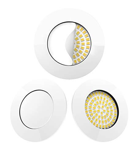 Scandinavian home 3er Set LED Einbaustrahler Weiß | ultra flach Badezimmer geeignet | warmweiß 220 / 230V CRI 90 5W 500lm 3000K Milchglas | LED Spot Deckeneinbauleuchte 60-68mm