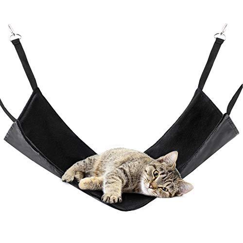 PATIO PLUS Katzenhängematte, Hängematte Käfig Katzenhängematte Hängendes Bett für Katzen, Frettchen, Ratte, Kaninchen 53 x 38 cm (schwarz)