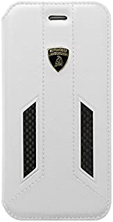 Automobili Lamborghini Huracan D6 Genuine Leather with Carbon Fiber Flip Folio Case For iPhone 6/6S (White)