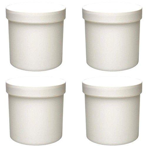 4 x Cremetiegel 250 ml Dose aus Kunststoff weiß, lebensmittelecht, BPA frei made in germany