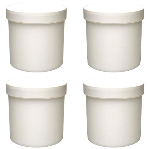 mikken - 4 x Cremetiegel 250 ml Dose aus Kunststoff weiß, lebensmittelecht, BPA frei made in germany