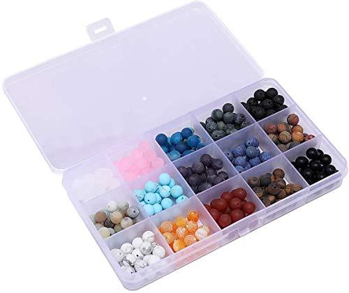 Contas de pedra preciosa, conjunto de caixa sortida redonda de 8 mm com 15 cores Onyx Amazonite Lapis Lava Crystal Energy Stone Cura Power Solto para fabricação de joias, Matte Round, 1
