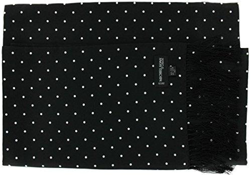 Une cravate large en soie noire à pois Michelsons