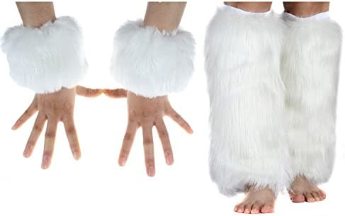 Faux Fur Cuffs Furry Leg Warmers and Wrist Cuff Warmer Boot Cuff 2 Pairs Set For Women Party product image