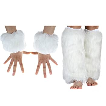 Faux Fur Cuffs Furry Leg Warmers and Wrist Cuff Warmer Boot Cuff,2 Pairs Set For Women Party Costumes