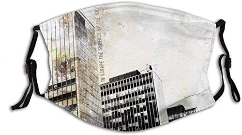 YTYTY Towering Modern Building Retro Style Design Shabby Photo Art Pintura para adultos turbante cara cuello polainas pasamontañas, senderismo, ciclismo, escalada en roca