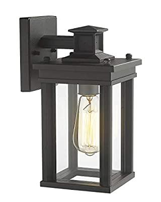 Zeyu Outdoor Porch Light, Exterior Wall Sconce Lantern for Hallway Patio, Black Finish with Clear Glass Shade, 02A30W BK
