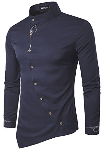 HOP Men's Casual Irregular Longline Hem Slim Fit Button Down Dress Shirt...