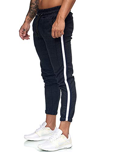 OneRedox Herren | Jogginghose | Trainingshose | Sport Fitness | Gym | Training | Slim Fit | Sweatpants Streifen | Jogging-Hose | Stripe Pants | Modell 1226 Navy Weiss S