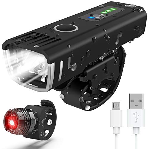 IANRTTE POWLAKEN Bike Light Set, USB Rechargeable Super Bright LED Waterproof Headlight Front Lights and Back Rear Bike Lights,Easy Mount 4 Light Mode Cycle Lights Fits All Bicycles,Mountain,Road