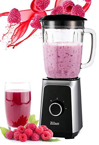 Standmixer | 1000 Watt | Glas Edelstahl | 1,5 Liter | 4-Fach Metallmesser | Pulsfunktion | Universal Power Mixer | Smoothie Maker | Zerkleinerer | Eiweiß Shaker | Ice Crusher | Hand Blender