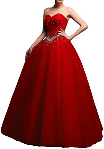 Beaded Tulle Long Ball Gown Corset Formal Prom Quinceanera Dresses Red US 6 product image