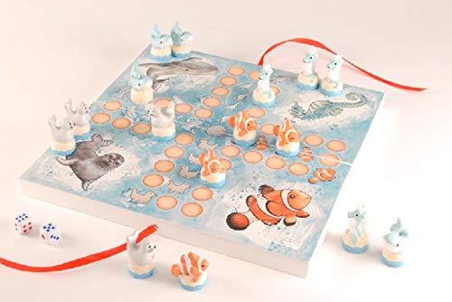 Rahlf Familienspiel Ozean, 16 Figuren, mit Clownfisch und Seepferdchen, MDF, 24x24 cm