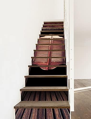 A.Monamour Vinilos Adhesivos para Escaleras 3D Old Western Vintage Rústico Salón Puerta Batiente Autoadhesivos Pegatinas de Baldosas Pegatinas de Pared Adhesivo de Contremarche 13 Tiras de 1m x 18cm