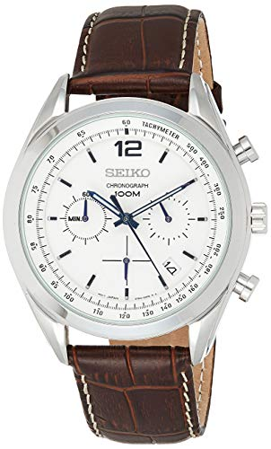 Seiko SSB095P1 - Reloj de Cuarzo para Hombre, con Correa de Cuero, Color marrón