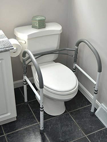 Vaunn Deluxe Bathroom Safety Toilet Rail - Adjustable Toilet Safety Frame - Medical Handrail Assist Grab bar Handle, Gray