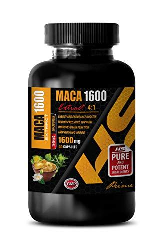 Men Supplements Testosterone - Mood probiotics for Men - MACA 1600MG Extract 4:1 - maca Root Supplement for Men - 1 Bottle 60 Capsules