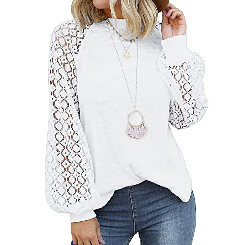Kobilee Blusa para mujer, de manga larga, elegante, para otoño e invierno, sexy, de encaje, cuello redondo, camiseta de manga larga, Blanco, L